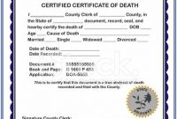 Fake Death Certificate Template