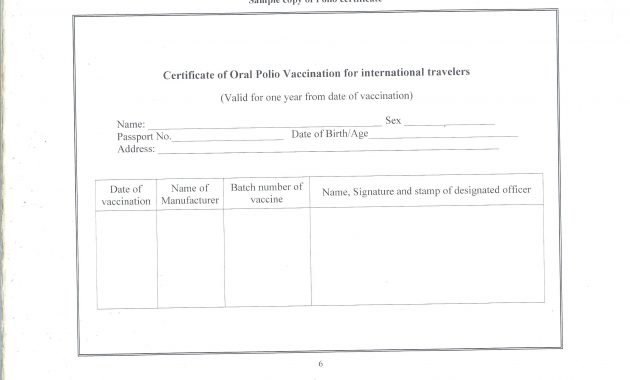 Certificate Of Vaccination Template 5