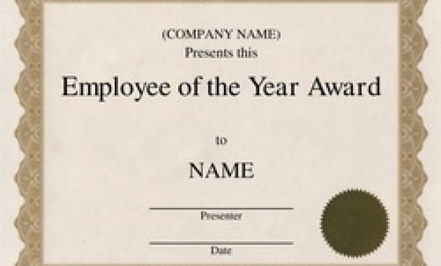 Employee Of the Year Certificate Template Free 10