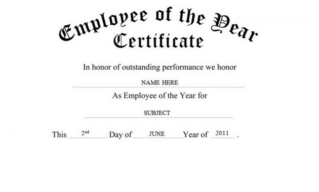 Employee Of the Year Certificate Template Free 3