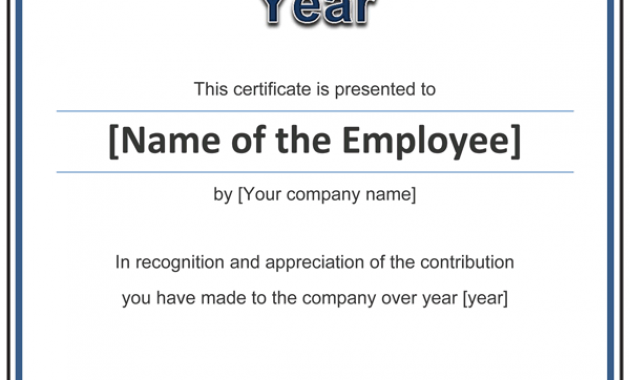 Employee Of the Year Certificate Template Free 6