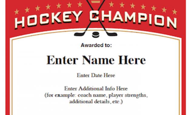 Hockey Certificate Templates 2