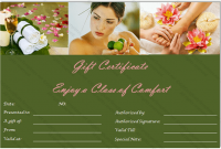 Spa Day Gift Certificate Template 0