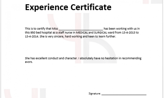 Certificate Of Experience Template 2