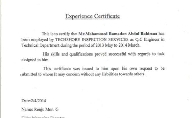 Certificate Of Experience Template 6