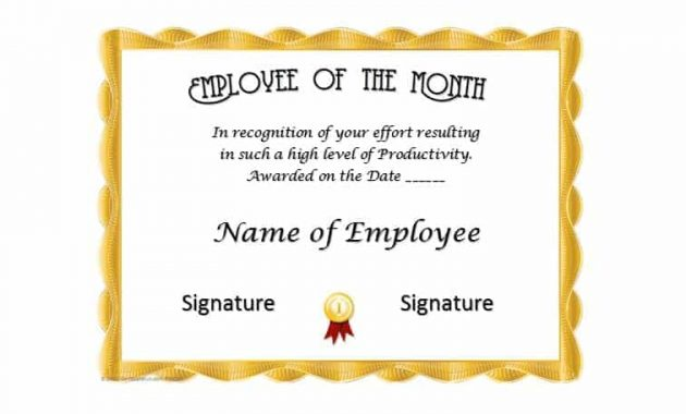 30+ Printable Employee Of The Month Certificates – Template Archive For Employee Of The Month Certificate Template