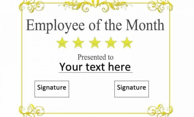 30+ Printable Employee Of The Month Certificates – Template Archive Pertaining To Employee Of The Month Certificate Template