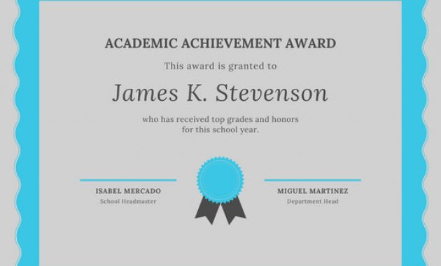 Academic Award Certificate Template 4