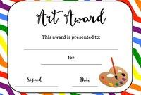 Art Award Certificate (Free Printable) | Art | Art Classroom intended for Free Art Certificate Templates