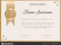 Certificate Award Template Vector Blank In Gold Colors. — Stock throughout Template For Certificate Of Award