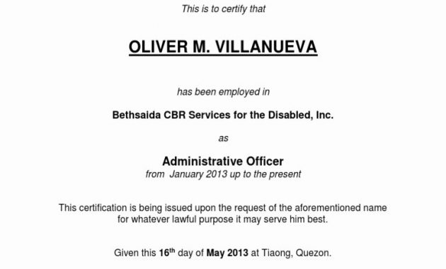 Certificate Of Employment Template Lovely Certificate Employment inside Template Of Certificate Of Employment