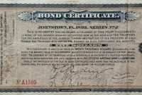 Certificate Templates: Vintage Johnstown: 1893 Bond Certificate with regard to Corporate Bond Certificate Template