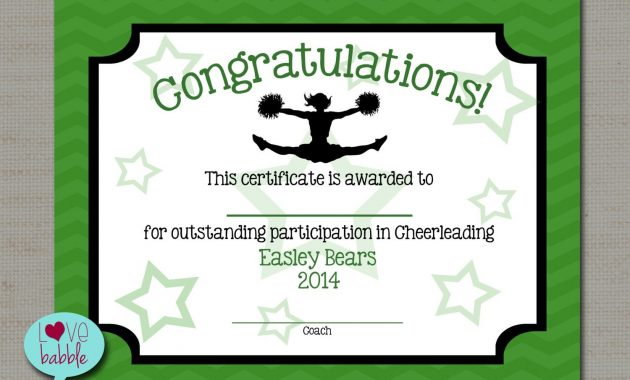 "Cheerleading Cheer Award Certificate, Dance Gymnastics Award – Printable  Digital File 8.5"" X 11"" In Gymnastics Certificate Template"
