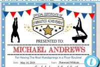Editable Gymnastics Certificates, Instant Download Gymnastics Team Awards,  Gymnastics Party Printable, Printable Gymnast Certificate Awards Inside Gymnastics Certificate Template