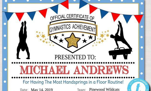 Editable Gymnastics Certificates, Instant Download Gymnastics Team Awards,  Gymnastics Party Printable, Printable Gymnast Certificate Awards Inside Gymnastics Certificate Template