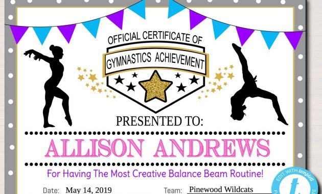 Editable Gymnastics Certificates, Instant Download Gymnastics Team With Gymnastics Certificate Template