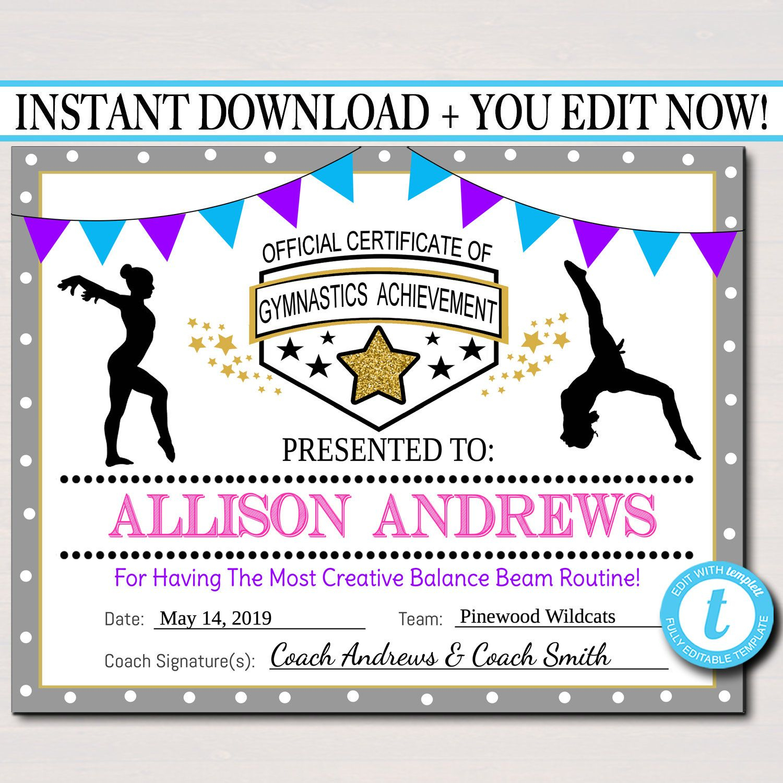 Editable Gymnastics Certificates, Instant Download Gymnastics Team with Gymnastics Certificate Template