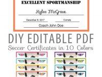 Editable Pdf Sports Team Soccer Certificate Award Template In 10 intended for Soccer Award Certificate Template
