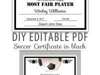 Editable Pdf Sports Team Soccer Certificate Diy Award Template In Black  Letter Size Instant Download throughout Soccer Award Certificate Template