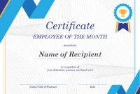Employee Of The Month Certificate For Employee Of The Month Certificate Template