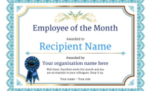 Employee Of The Month Certificate – Free Well Designed Templates For Employee Of The Month Certificate Template