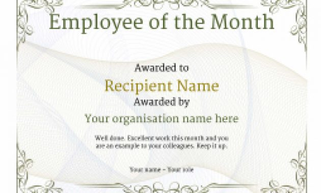 Employee Of The Month Certificate – Free Well Designed Templates Within Employee Of The Month Certificate Template