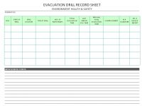 Evacuation Drill Record Sheet – inside Emergency Drill Report Template