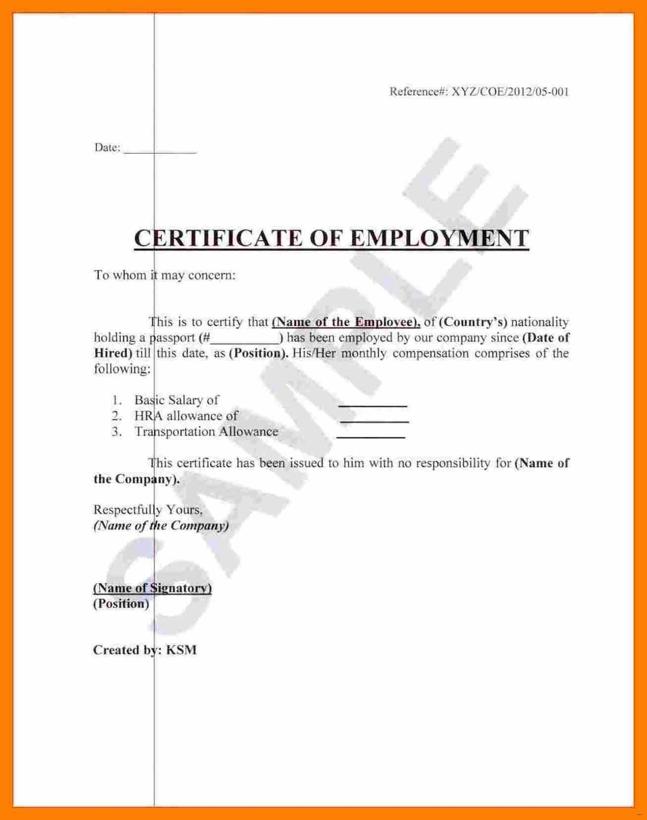 Format Of Certificate Of Employment - Yeder.berglauf Verband With Template Of Certificate Of Employment