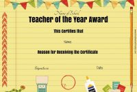 Free Certificate Of Appreciation For Teachers | Customize Online with Teacher Of The Month Certificate Template
