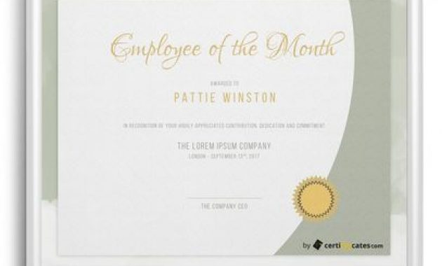 Free Employee Of The Month Certificate Templates | Certifreecates With Employee Of The Month Certificate Template