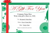Free Printable Gift Certificate Template | Free Christmas Gift Inside Fillable Gift Certificate Template Free