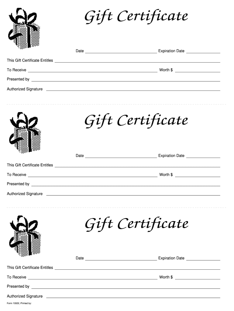 Gift Certificate Template Free - Fill Online, Printable, Fillable With Regard To Fillable Gift Certificate Template Free