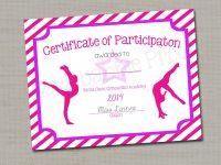 "Gymnastics Award Certificate, Dance Award – Printable Digital File 8.5"" X  11"" with regard to Gymnastics Certificate Template"