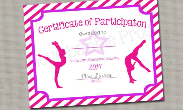 "Gymnastics Award Certificate, Dance Award – Printable Digital File 8.5"" X  11"" With Regard To Gymnastics Certificate Template"