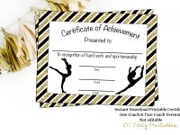 Gymnastics Award – Gymnastics Certificate – Printable Gymnastics Award –  Sports Achievement – You Print – Gymnastics Meet inside Gymnastics Certificate Template