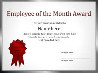 Impressive Employee Of The Month Award And Certificate Template With intended for Employee Of The Month Certificate Template