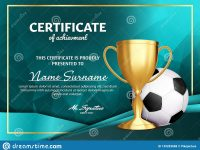 Soccer Certificate Diploma With Golden Cup Vector. Football. Sport for Soccer Award Certificate Template