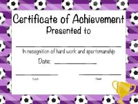 Soccer Certificate Of Participation – Soccer Award – Print At Home – Soccer  Mvp – Soccer Certificate Of Achievement – Purple Soccer Theme with regard to Soccer Award Certificate Template