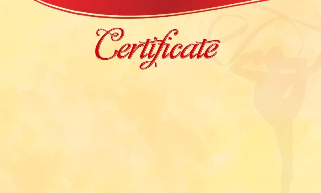 The Certificate Template «Rhythmic Gymnastics» – Dimaker – Templates For Gymnastics Certificate Template