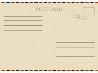 Vintage Postcard. Old Template. Retro Airmail Envelope With Stamp in Airmail Postcard Template