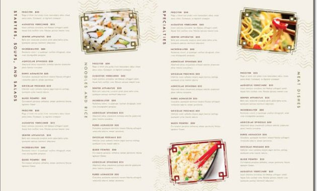 12+ Best Chinese Food Restaurant Menu Templates intended for Asian Restaurant Menu Template