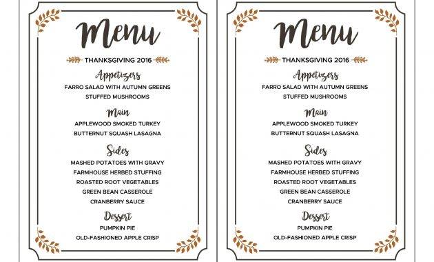 35 Awesome Thanksgiving Menu Templates ᐅ Templatelab with regard to Editable Menu Templates Free