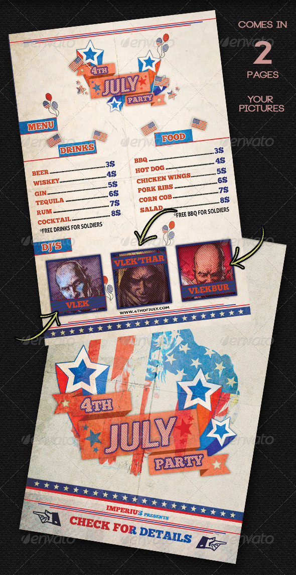 4Th Of July Menu Templates And Party Flyers In Pdf, Eps In 4Th Of July Menu Template