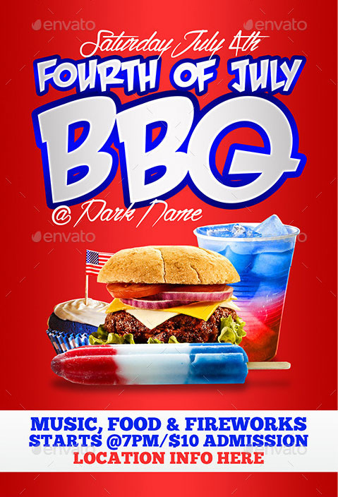 4Th Of July Menu Templates And Party Flyers In Pdf, Eps With 4Th Of July Menu Template