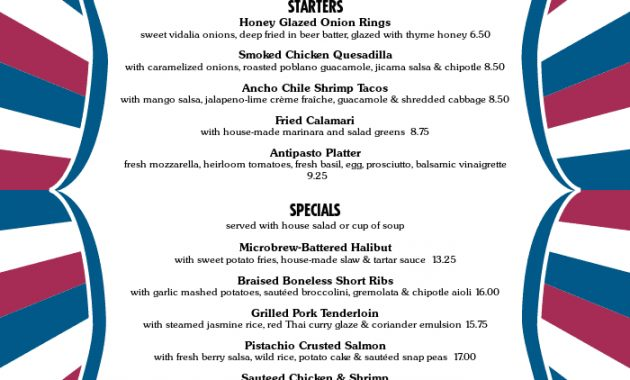 4Th Of July Menus Pertaining To 4Th Of July Menu Template
