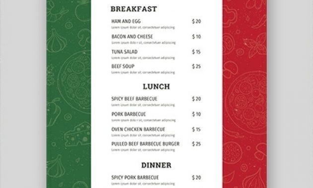 75+ Free Menu Templates – Pdf | Word (Doc) | Psd | Indesign inside Free Restaurant Menu Templates For Microsoft Word