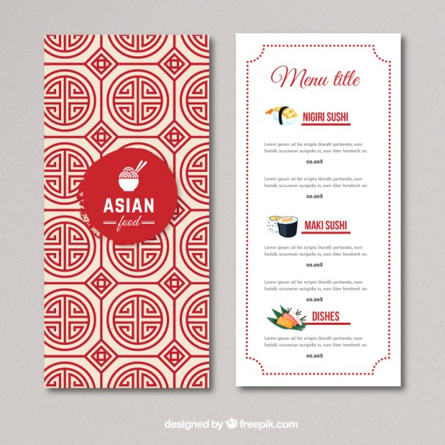 Asian Food Menu | Free Vector Intended For Asian Restaurant Menu Template