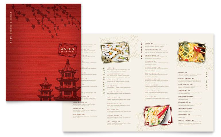 Asian Restaurant Menu Template Design | Menu Resto, Idee with Asian Restaurant Menu Template