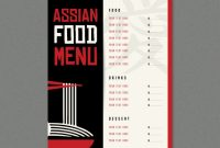 Asian Restaurant Menu Template | Free Vector within Asian Restaurant Menu Template