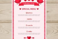 Birds And Ribbon Valentine Menu Template | Free Vector pertaining to Valentine Menu Templates Free